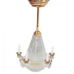 1:12 A Dollhouse miniatűr Lichtstativ öt hamis átlátszó gyertya csillár V5T0