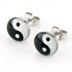 1X (YIN és Yang 10 mm-es kerek tűs szimbólum U9R2 fülbevalók)