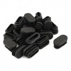 15 mm x 30 mm műanyag ovális alakú végsapka csőbetét fekete, 24 darab F6X4