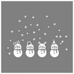 Kedves ablak dekoráció Fehér hópehely boldog karácsonyt hóember fali tapéta E9N1