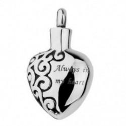 5X (mindig a szívemben rozsdamentes acélból készült hamvasztás Urn emlékmű medál P8G7