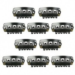 Fekete Snap klipek 10 darabos U-alakú fém klipek a hajhosszabbításhoz DIY S7C2