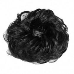 Női fekete hajhullás Scrunchie zsemlehosszabbítások Göndör lófarok hajhaj L5H8