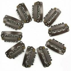 10db barna Snap klipek U alakú fém klipek hajhosszabbításhoz DIY CT W5I6 S3G3