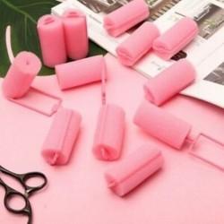 1X (12 db sötét rózsaszín hajformázó puha hab szivacsgörgők, hajcsavarók, HairdressiA6E3)