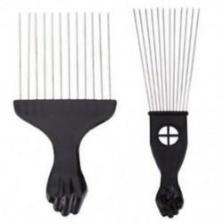 3X (1PC professzionális szalon) Használjon fekete fém afrikai Pick fésű hajfésűket Inse M4F6