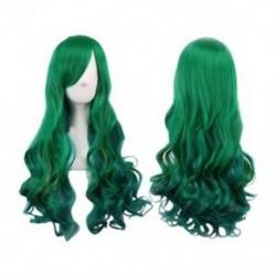Sötétzöld hölgy paróka sötétzöld hosszú göndör paróka Hosszú hajú 68cm paróka nőknek E2L6