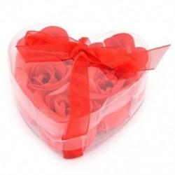 6 db vörös illatú fürdőszappan rózsaszirom a W9E9 szívdobozban