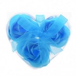 Új 3 db praktikus, kiváló minőségű rózsa alakú baba kék fürdő szappan szívcsomag Bo G4W5