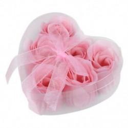 1X (6 darab világos rózsaszín dekoratív illatos rózsavirág-szirom szappan esküvői kedvenc I8P1)