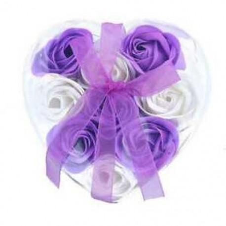 Lila és fehér - 1X (9db illatos rózsa virágszirom fürdőfürdő test szappan esküvői ajándék I1N6)