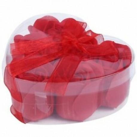 2X (6 db vörös illatos fürdőszappan rózsaszirom a K1X9 szív alakú dobozban)