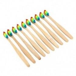 Vaclav 10Pc bambusz fogkefe Rainbow Bambusz fogkefe rostos fogkefe C W8W2