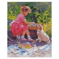 E5K3 kislány ábra és állati kutya táj mintázat Wall Art vászon dekoráció