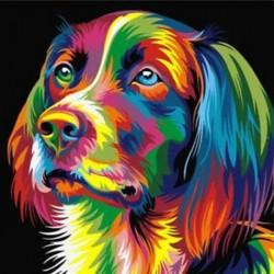 4X (DIY keret nélküli kép faliolajfestménynél Állati absztrakt kutya rajz DT9P5