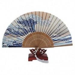 Japán kézi összecsukható ventilátor, hagyományos japán Ukiyo-e művészeti nyomatokkal, BT