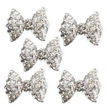 5 db 3D ezüst ötvözet strasszos csokornyakkendő csillogó körömlakk V6L9