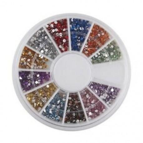 Strasszos Nail Art drágakövek vegyes színű formák tokban (1.5mm, 1800db) F2O7