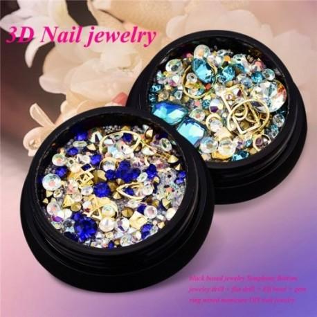 1X (2 dobozos 3D körömékszer, színes vegyes akrilcsúcs gyémánt lapos ékszer Ston A3C2