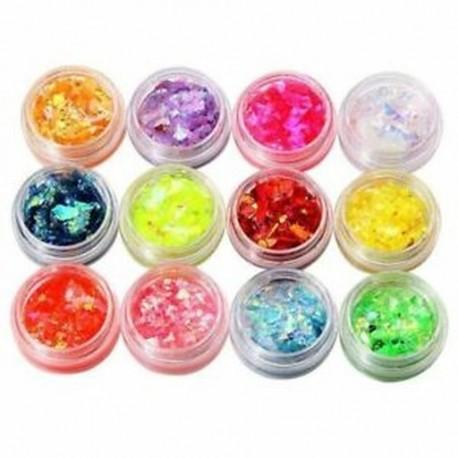 5X (12 színű UV gél körömfényű csillogó porporzó csillámló akrilcsúcs DIY De F2L4