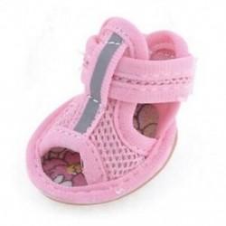 2 pár gumi talp rózsaszín hálószandál Yorkie Chihuaha kutyacipő, méret 1 P2Y4