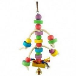 1 db-os papagáj játék, színes, színes gyöngyökkel, harangokkal, madárjáték Papagáj Ch Q7S4