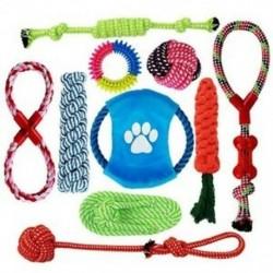 Kutya kötél játékok, 10 darab kiskutya rágó játékok készlet kutya pamut kötél csomó és fogak Cl Q7U0