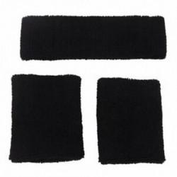 1x fejpánt és 2x elasztikus karkötő sporthoz - fekete G3H2 X6Y6