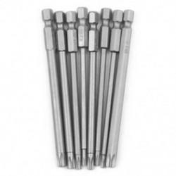 8 darabos üreges, mágneses Torx csavarhúzó-bitek készlet, 1/4 hüvelykes Hex szárú csavar, K3V8