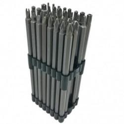 32Pc extra hosszú teljesítményű bitkészlet, 6 hüvelykes, 150 mm hosszú, 1/4 hüvelykes szár, Tamperproo M8M6