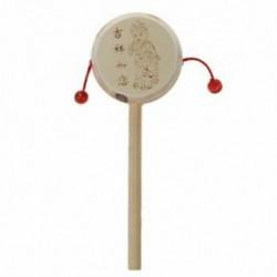 Kínai régi, fából készült csörgő dob kézfogó játék gyerekeknek Z2I4