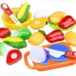 12 db / készlet gyerekjáték műanyag gyümölcs zöldség darabolására úgy tesz, mintha a korai W7F1 játék lenne