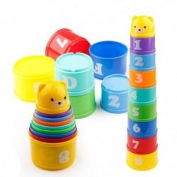 9 db oktató babajátékok 6 hónap   számok Betűk Hajtogatott stack kupa torony P3L4