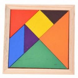 Oktatási, fából készült, hét darab puzzle, Tangram Brain ugratók babajáték J7F7