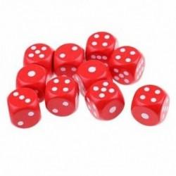 piros - 10 hatoldalas D6 kocka társasjátékokhoz, fából Q3J7