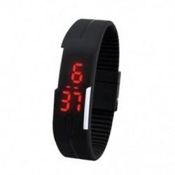 1X (férfi női szilikonvörös LED érintőképernyős digitális karóra karkötő fekete S6F1)