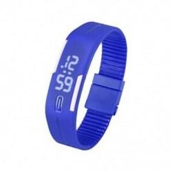 Kék - 1X (sportszilikon gumi fehér LED digitális karóra karkötő férfi nők kék L3G9)