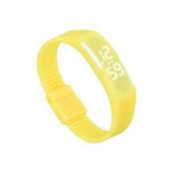 Sárga - 1X (sportszilikon gumi fehér LED digitális karóra karkötő férfi nők kék L3G9)