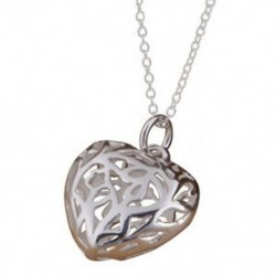Üreges szív alakú medál nyaklánc lánc vékony-ezüst Q4M4