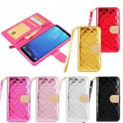 Bőrmintás csatos Pénztárca műbőr táska jellegű telefon tok Samsung Galaxy S8