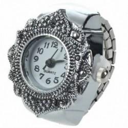 Tibeti ezüst virágos férfi hölgy ujjgyűrűs óra 0,87 &quot HOT L3E5