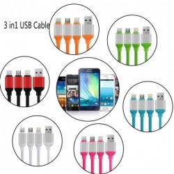 3 az 1-ben többszörös USB + Micro + Type C szinkron adat töltőkábel IPhone Android és Huawei 1.2M