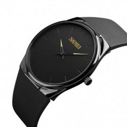 Fekete - SKMEi rendkívül vékony kvarcóra, karóra Pu Strap Fashion alkalmi óra 1601S Z9F1