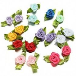 200db keverés Finom szatén rózsa virág szalaggal varrott esküvői dekorációk Deco T5V0