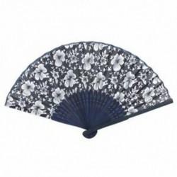 1X (Morning Glory Print bambuszszövet hajtogatható kézi ventilátor sötétkék a nők számára Y9E2)