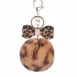 1X (szőrös kulcstartó Leopard Bowknot szőr kulcstartó táska lánc nyúl szőrme gömb kulcs I7H7