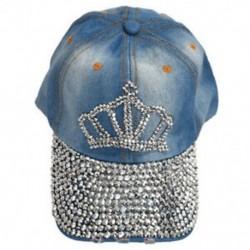 Koronás mintával mosott, festett farmer, strasszos baseball sapka-kalap Női U6 V0G1