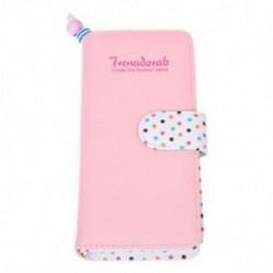 Női pénztárca cipzáras PU bőr pénztárca Pink Dots Card pénztárca K3Y1