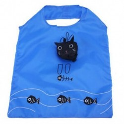Újrafelhasználható és összecsukható, mint egy macska ökológiai táska, kék és fekete S8C5 B2M2