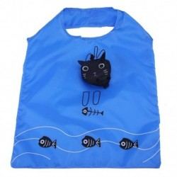 Újrafelhasználható és összecsukható, mint egy macska ökológiai táska, kék és fekete Q5C8
